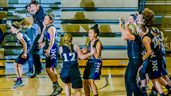 Members of the Lakeview girls' basketball team celebrate as time expires in their Class A district final win over Holt on Friday.