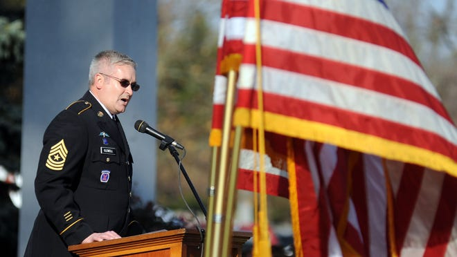 About 150 attended Veterans Day services Tuesday at Veterans Park in Marion, where U.S. Army veteran Sgt. Major Jeff Clewell, a major in the Marion Police Department, gave the Veterans Day address.