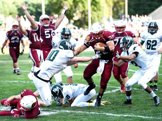 Pompton Lakes' Frank Negrini on his way to scoring a touchdown in a 2017 game.
