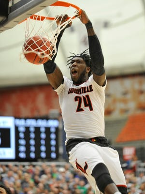 U of L's Montrezl Harrell scored early in the game against Michigan State with this vicious dunk.  March 27, 2015