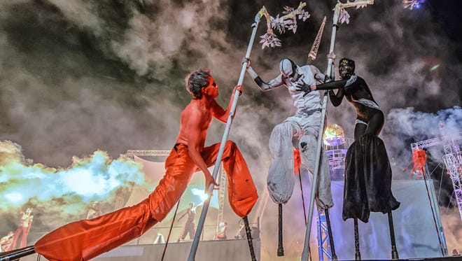 Tucson's Flam Chen returns to Arcosanti with stilt performers from around the world for a public show on May 31.