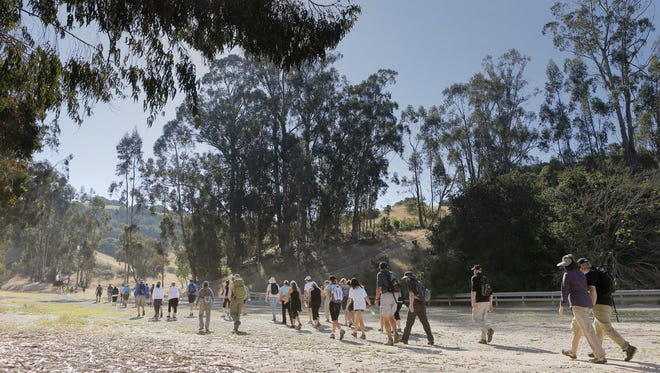 Participants set out on a charity hike in 2013 in Toro Park.