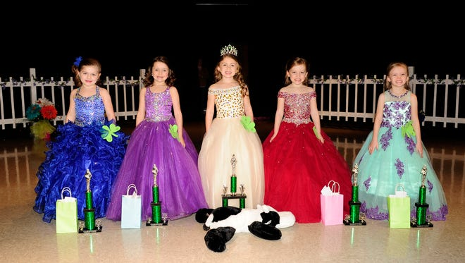 The 6-year-old winners are, from left, Summer Veliz, third runner-up and People's Choice winner; Kylie Covington, first runner-up; Braelyn Allsbrooks, Little Miss; Lynden Mathis, second runner-up; and Kianna Brown, fourth runner-up. Other winners not pictured are Jakelyn Boone, Prettiest Dress; Patricia Stringfield, Prettiest Hair; and Amy Leach, Prettiest Smile.