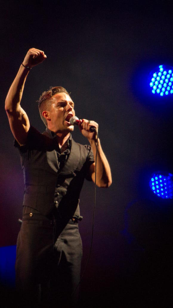 Brandon Flowers of The Killers performs at the Firefly Music Festival in Dover July 21, 2012.