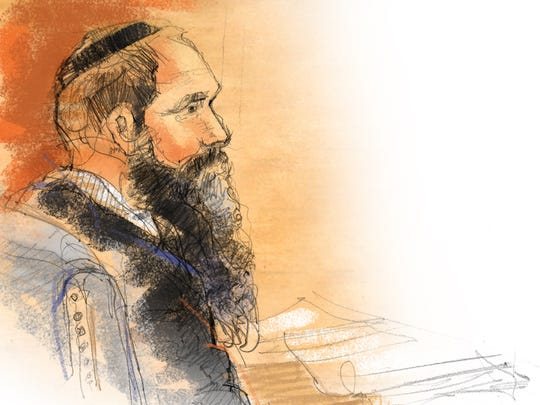 Sholom Rubashkin sits at the defense table before being called to the witness stand in his financial-fraud trial in federal court in Sioux Falls, S.D., Thursday, November 5, 2009.  The judge made a few remarks and clarified court rules before proceedings began Thursday morning. (Mark Marturello/Register illustration)