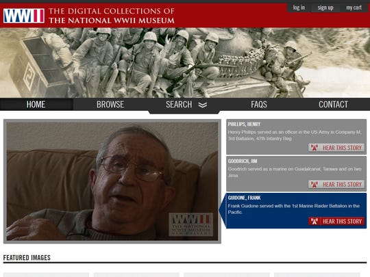This screenshot provided by the National World War II Museum shows the home page of the National World War II Museum's new online archive project, in New Orleans, Friday, Dec. 16, 2016. Executives at the museum say creating a vast online collection of 9,000 existing oral and written histories will take longer than the war was fought: 10 years and $11 million dollars. The task is enormous: thousands of hours of audio and video must be handled and millions of words transcribed. Ultimately, all these firsthand accounts of Pearl Harbor, the D-Day invasion, Germany's surrender, Hiroshima, the homefront and more will be online.