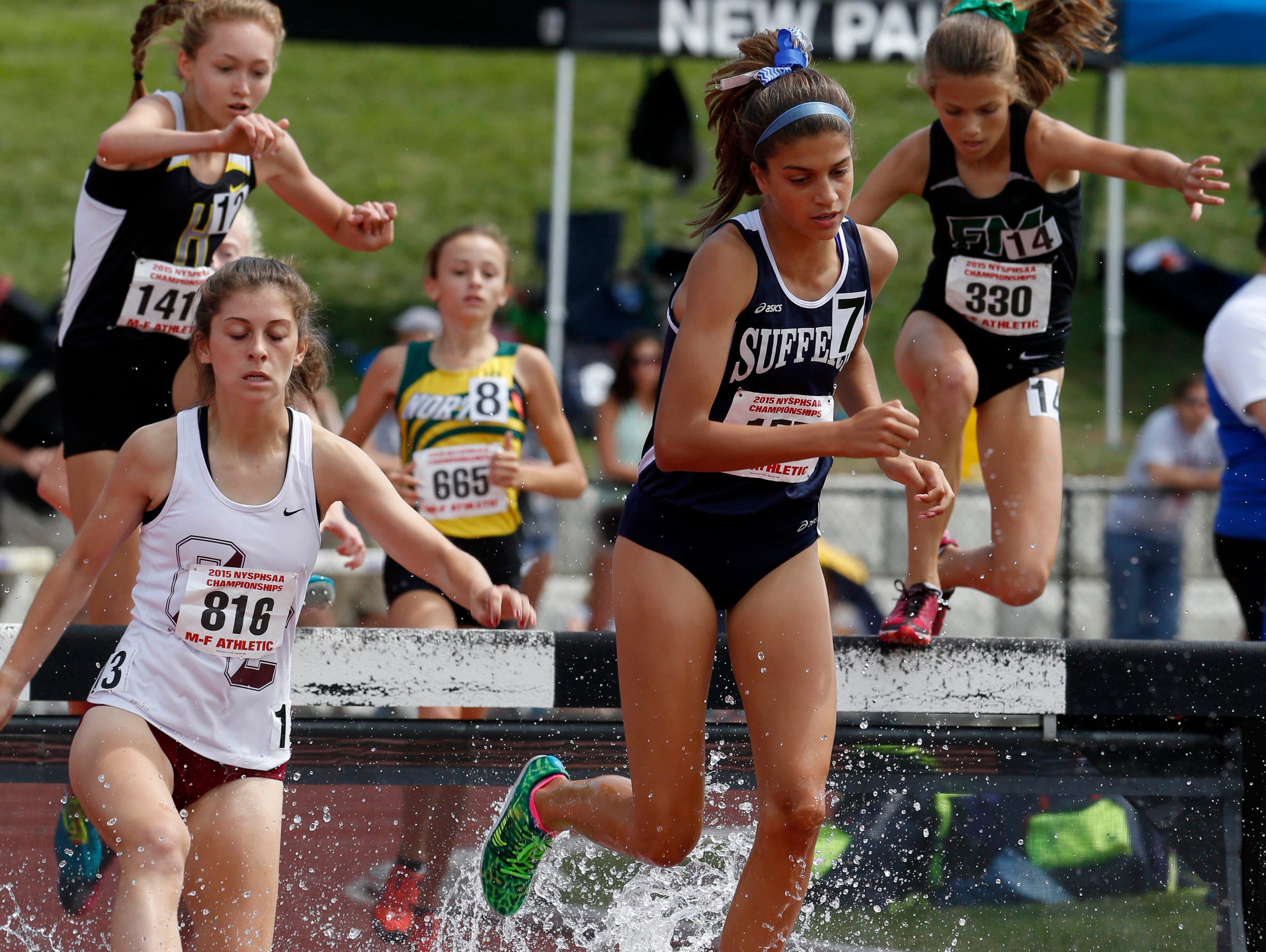 Suffern's Rachel Ludwikowski, pictured here competing in the girls 2000 meter steeplechase at the state track and field championships at the University at Albany, June 13, 2015, won the Girls A race at the Suffern Invitational on Saturday.