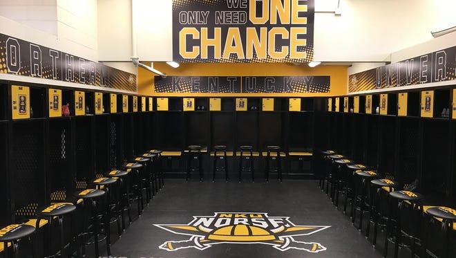 The NKU men's soccer dressing room.