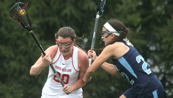 North Rockland's Kaitlyn Gutenberger is pressured by
