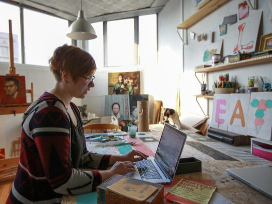 Jessica Krcmarik, 25, of Detroit works in her studio