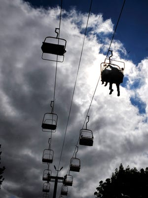 Fair-goers can ride the lift for a bird's eye view of the fairgrounds.