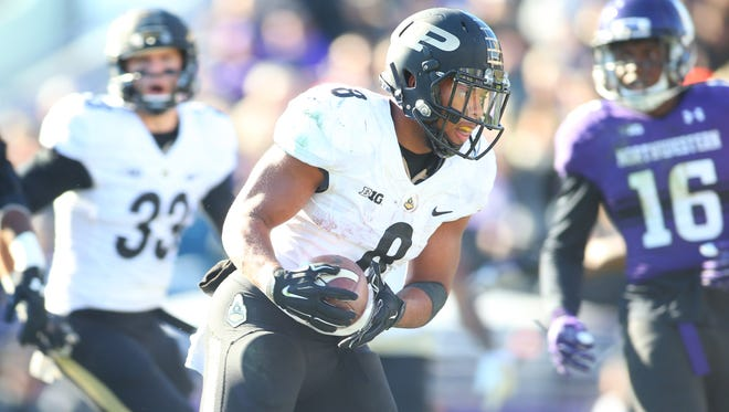 Nov 14, 2015; Evanston, IL, USA; Purdue Boilermakers running back Markell Jones (8) runs the ball into the end zone during the second half against the Northwestern Wildcats at Ryan Field. Mandatory Credit: Caylor Arnold-USA TODAY Sports