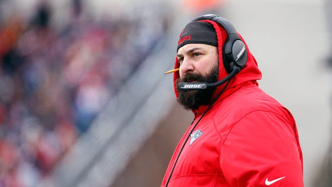 Matt Patricia looks on during a game against the Jets at Gillette Stadium on Dec. 31, 2017 in Foxboro, Mass.
