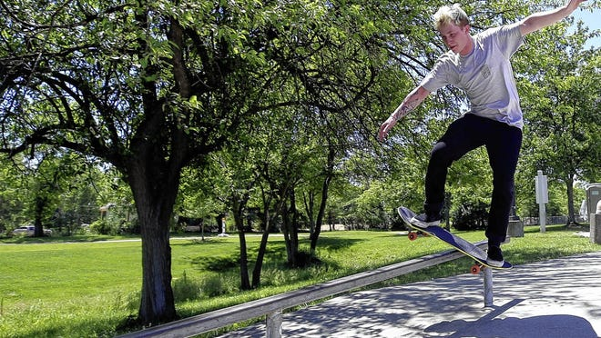 Jordan Lorbach, 21, hones his skateboarding skills June 8 at Powell's Adventure Park on Village Park Drive. The city of Powell opened its playgrounds, basketball courts, soccer fields, baseball diamonds and shelters June 10. The city's splash pad remains closed.