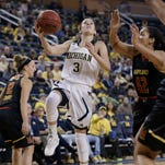 Michigan sophomore guard Katelynn Flaherty (3) has been one of the Big Ten's top scorers and limiting her will be a top priority for MSU.