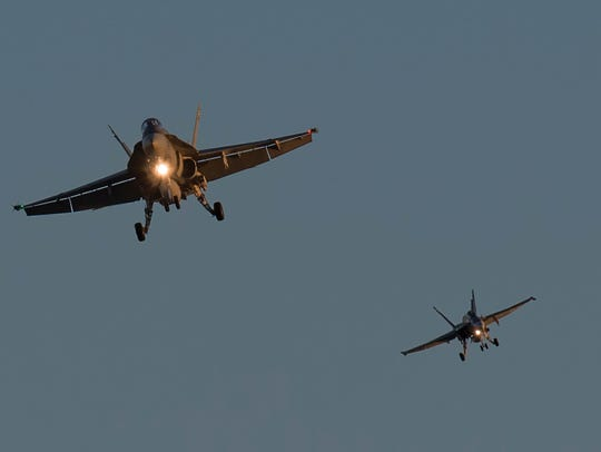 Two Royal Canadian Air Force CF-188 Hornets from 401
