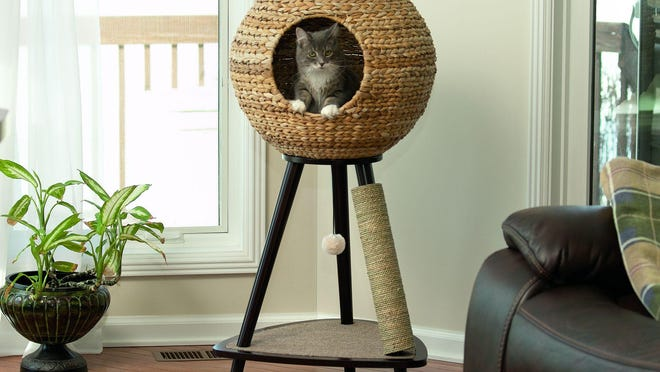 The woven sphere cat perch is one of the offerings from Sauder Woodworking's Sauder Pet Home furniture line.