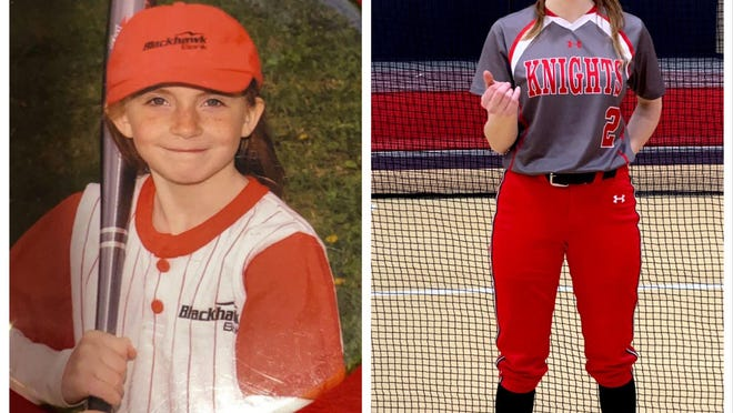 Kora Dettman, subject of this week's Senior Spotlight (during a pandemic), posed for a softball picture back in her younger days, left, and recently in her Auburn uniform.