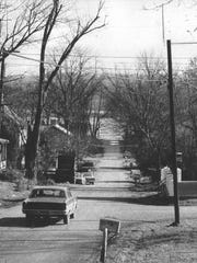 Mulberry Street, near the end of Old Salem Road in Utica, Ind., has changed little since this photo was made in 1975.