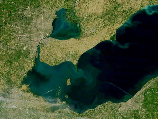 Lake Erie, bottom, and Lake St. Clair on July 4, 2017.