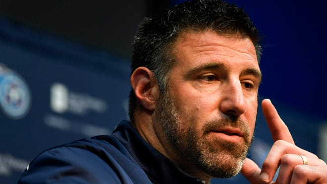 Titans coach Mike Vrabel addresses the media at the Saint Thomas Sports Park in Nashville, Tenn., Monday, April 9, 2018.
