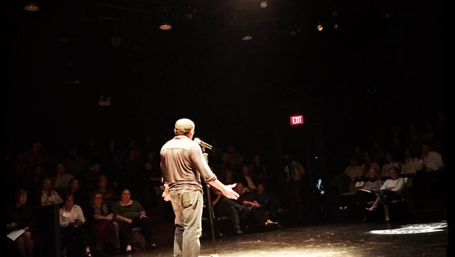 Bruce Ucan, from the Mayan Cafe', told an emotional story of struggle and addiction to begin Louisville Storytellers Monday night.