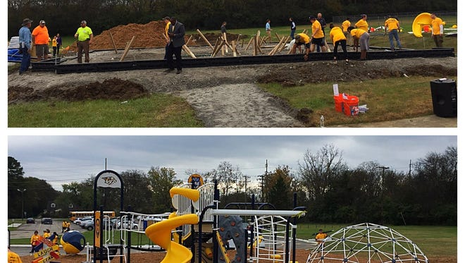 The Predators built a playground Thursday at KIPP Nashville College Prep.