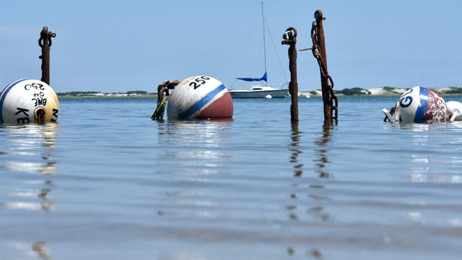 A rising tide lifts the mooring balls awaiting placement in Barnstable Harbor now that summer is in full swing.