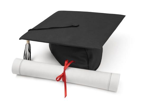 ELM illustration Graduation hat and diploma on white background