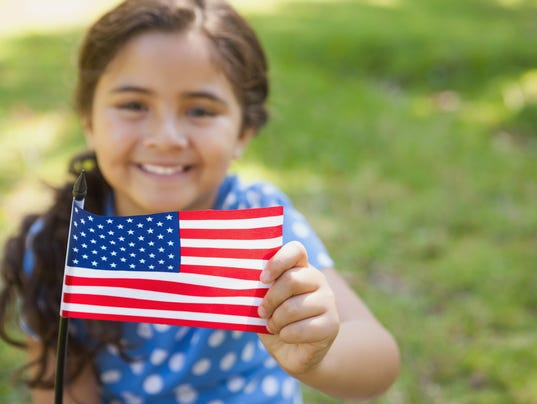 Girl with flag Stock Image