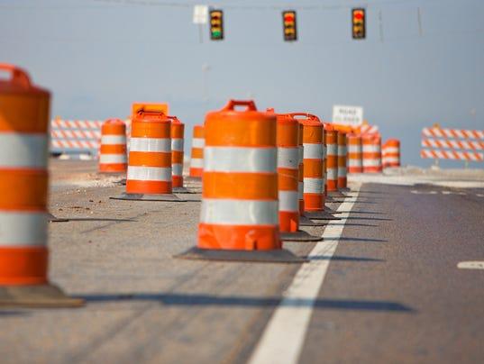 Line of road cones