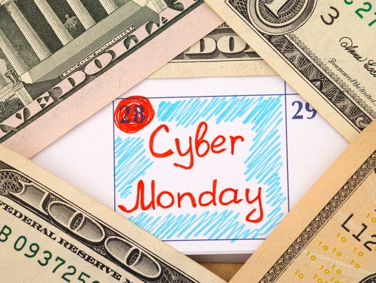 Reminder Cyber Monday in calendar with dollars
