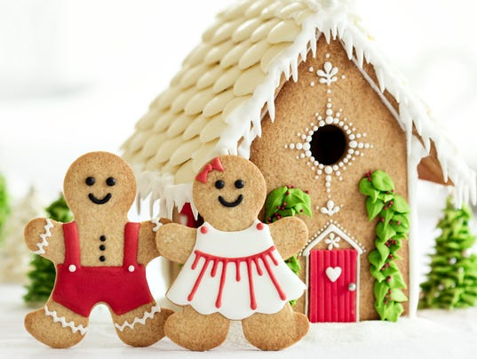 Gingerbread house with gingerbread couple