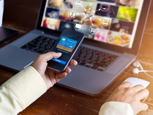 Man using mobile payments online shopping and icon customer network