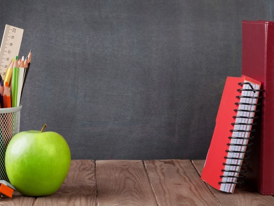 STOCKIMAGE School and office supplies and apple