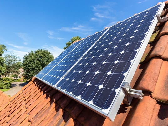 Row of solar panels  on roof