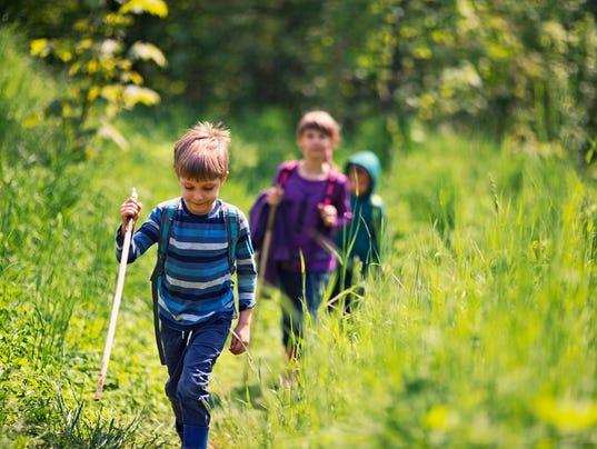 Spring little hikers walking among fresh green  nature