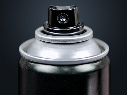 Spray Can Macro, Isolated on Black