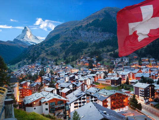 Zermatt village with view of Matterhorn in the Swiss Alps