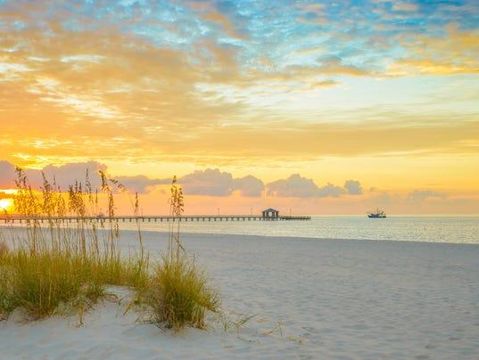 Gulfport Mississippi Beach Dramtic Golden Sunrise Pier Shrimp Boat Bay