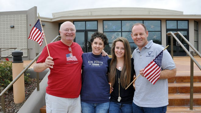 Micayle Hansen's family, from left: grandfather Fred Bradley, Vietnam War veteran; her mother Michelle Hansen, Micayla, and her father Michael Hansen, who served in Air Force from 1991-2006.