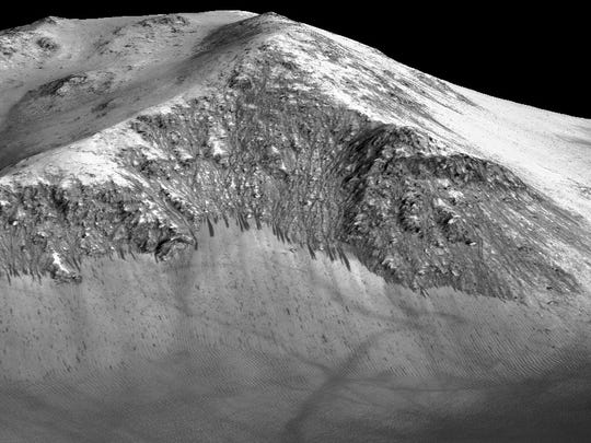 These dark, narrow, 100-meter-long streaks called recurring slope lineae flowing downhill on Mars are inferred to have been formed by contemporary flowing water. Recently, planetary scientists detected hydrated salts on these slopes at Horowitz crater, corroborating their original hypothesis that the streaks are indeed formed by liquid water.