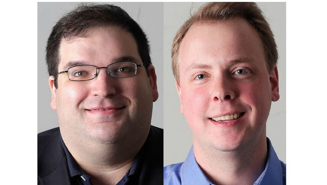 Andre Jacque, left, and Alex Renard are Republican candidates for the 1st State Senate District.