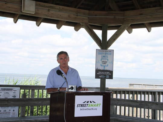 Michael Garofalo, Harvey Cedars commissioner for Public Safety & Affairs,  speaking at the Street Smart NJ Pedestrian Safety Campaign Kickoff on Long Beach Island.