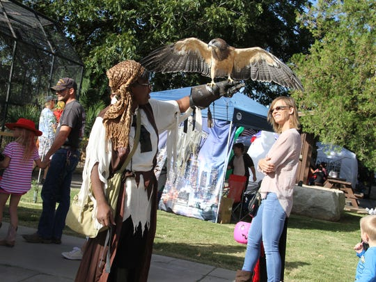 Master Falconer Hazel Wilson brought her friend a Swainson's Hawk named Dolly to visit with attendees or have their picture taken with Wilson and Dolly at Saturday's Alamogordo Zoo Boo.