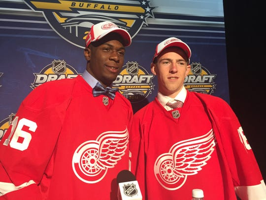 Detroit Red Wings second-round draft picks Givani Smith, left, and Filip Hronek pose after being selected in the NHL draft Saturday, June 25, 2016 in Buffalo, N.Y.