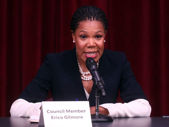 Council Member Erica Gilmore speaks during a mayoral