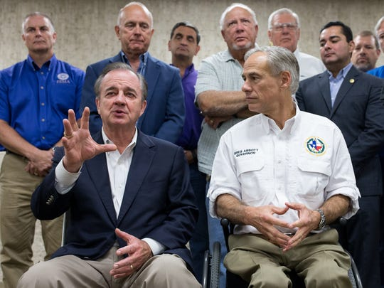 John Sharp, chancellor of Texas A&M University, speaks after being appointed chair of the Governor's Commission to Rebuild Texas during a briefing with local officials at the Nueces County Courthouse on Thursday, Sept. 7, 2017.