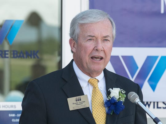 Randy George, president of the Montgomery Area Chamber of Commerce, speaks as Wilshire Bank held it's grand opening at 1605 Eastern Blvd., Montgomery, on Thursday, Aug. 13, 2015.