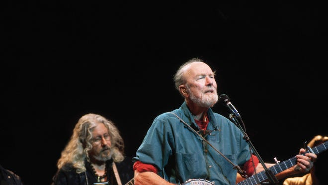 "Pete Seeger performs in 2008 in a scene from the motion picture ""Pete Seeger: The Power of Song."""